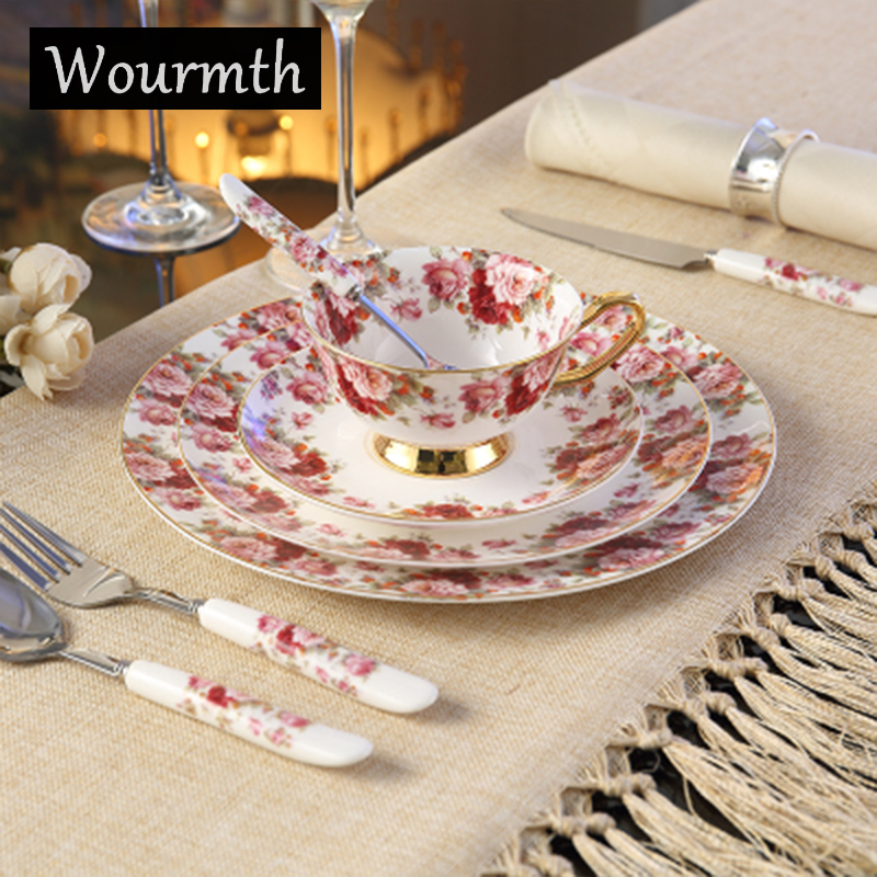 Wourmth English Small fresh style Bone China Dinner Plates Steak Plates Food Tray Restaurant Tableware Knife