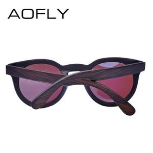 Image 4 - AOFLY 브랜드 디자인 여성 선글라스 편광 된 고양이 눈 태양 안경 나무 프레임 빈티지 손수 대나무 Gafas UV400 AF603