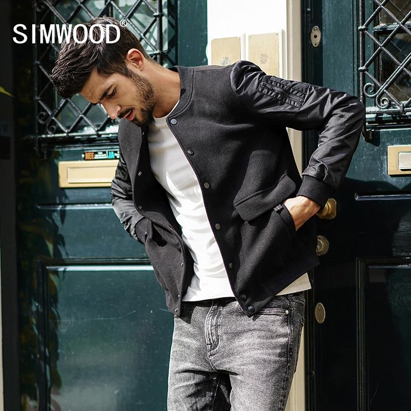 Simwood 2018 модный бренд весна куртка Slim Для мужчин Фитнес Бейсбол куртка хлопковая верхняя одежда плюс Размеры пальто Высокое качество jk017014