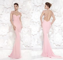 2015 New Arrival Formal Mermaid Evening Dresses Sweetheart Beaded Top Backless Light Pink Prom Party Gown