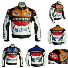 Top quality Repsol PU leather jacket with 5 pieces protector Motocross racing motorcycle jacket clothing Blue