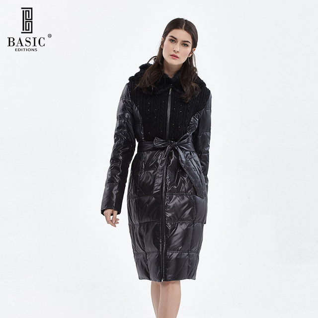 Basic Editions Winter Long Duck Down Mink Fur Knitted Top Parka Jacket - DY12007
