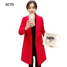 Spring/Autumn Women Woolen Coat 2017 New Fahsion Medium long Wool Blend Coat Long sleeve Loose Big yards Female Coat LADIES265