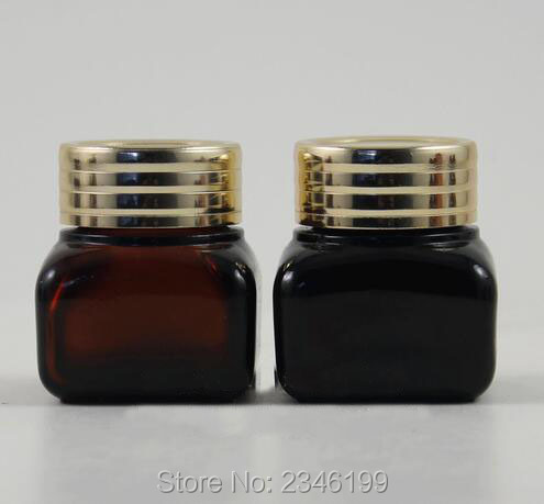 15G 15ML Cosmetic Glass Sample Jar, with Gold Aluminum Cap, Brown Color Square Glass With Screw Lid Packing Container, 25pcs/lot