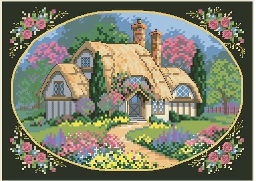 oneroom Top Quality Counted Lovely Cute Counted Cross Stitch Kit Enchanted Cottage House Villa Home Flowers dim 0671