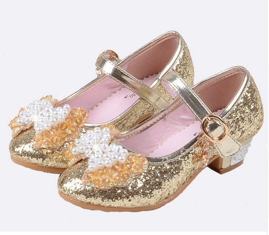 490db36199 US $5.01 23% OFF|2017 NEW girls high heels children princess flower fashion  pumps kids pink school wedding dance shoes -in Leather Shoes from Mother &  ...
