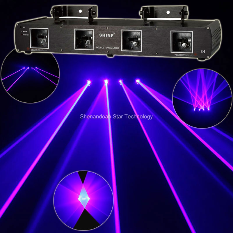 New 4lens 2W Blue Beam Laser Scanner DMX Dance Bar Xmas Party Disco Shop DJ Lighting Stage Effect Light Show System X15