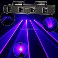 New 4lens 2W Blue Beam Laser Scanner DMX Dance Bar Xmas Party Disco Shop DJ Lighting