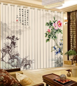 Print 3D Blackout Curtains For Living Room Bedding Room Drapes Cotinas Para Sala Watercolor Ink Landscape Painting 3D Curtain