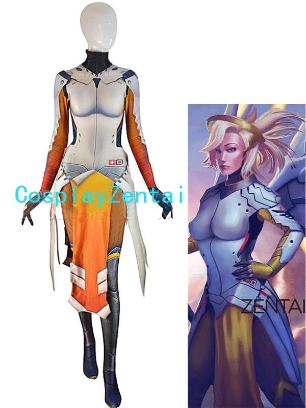 Mercy kostim Armored W Strips 3D Ispis Spandex Igra Djevojka Cosplay - Karnevalske kostime
