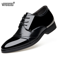 VANSISCOU Men Hight Increasing 6CM Elevator Shoes Lace up Oxford Leather Shoes Business Office Wedding Shoes Insoles Taller 6CM