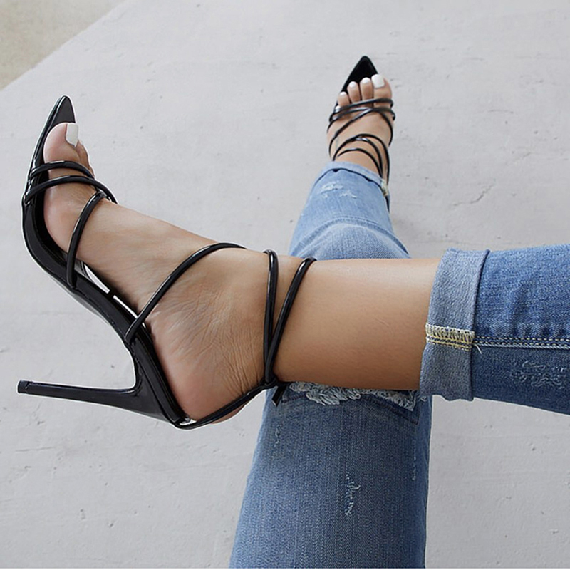 Женские босоножки на очень высоком тонком каблуке 11,5 см; туфли-лодочки с ремешком на щиколотке; женские модельные туфли с острым носком на высоком каблуке; обувь для вечеринок