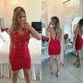 Красный кружева короткие платья выпускного вечера 2016 В - шеи чисто назад короткие ну вечеринку платья vestido де феста курто халат коктеила