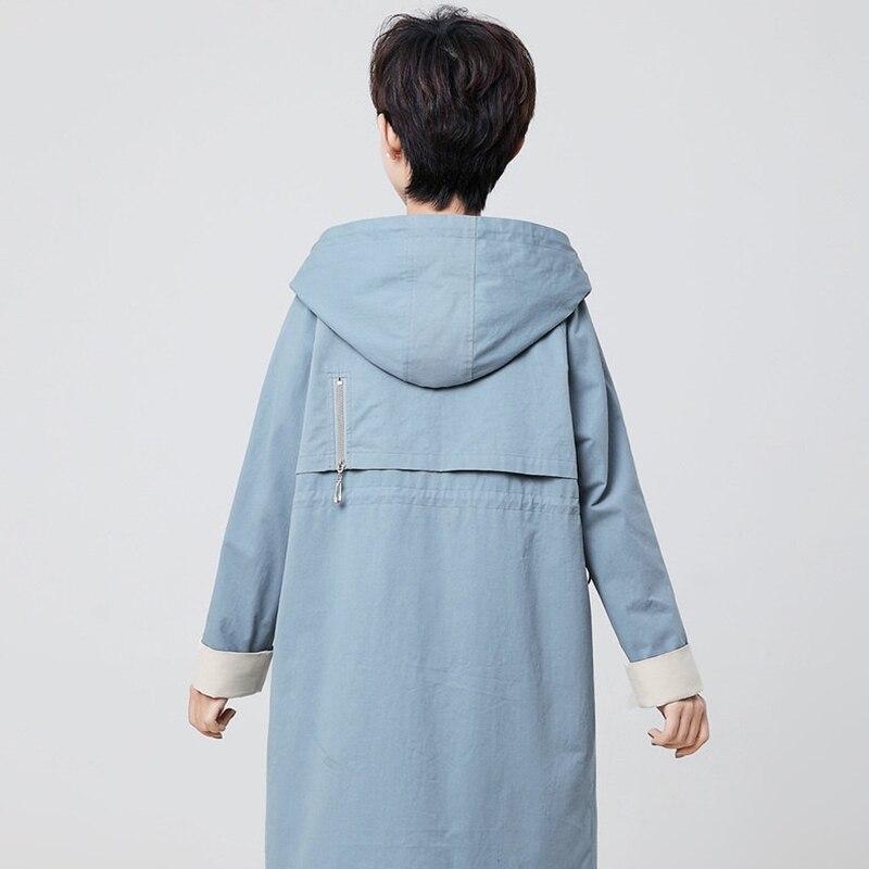 caramel 100 Black Femelle Solide Nouveauté Hauts Capuche Grande 2019 Femmes Taille green Printemps blue Coton Pour Coupe À Dames 4xl D'extérieur coat vent Trench Vêtements Snf1a1qw5