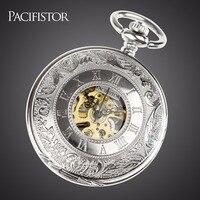 INFANTRY Pocket Watch Mechanical Skeleton Pocket Watches Men Top Brand Full Metal Alchemist Steampunk Fob Clock Vintage Chain