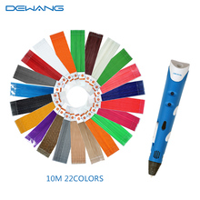 2016NEW DEWANG Brand First Generation DIY 3D Printer screw rod Pen For Kids With 22colors PLA 10m Filament Free Shipping