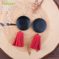 8SEASONS Women Drop Earrings Handmade Silver Plated Black Round Wood Beaded Korea Velvet Red Tassel Pendant Earrings 1 Pair