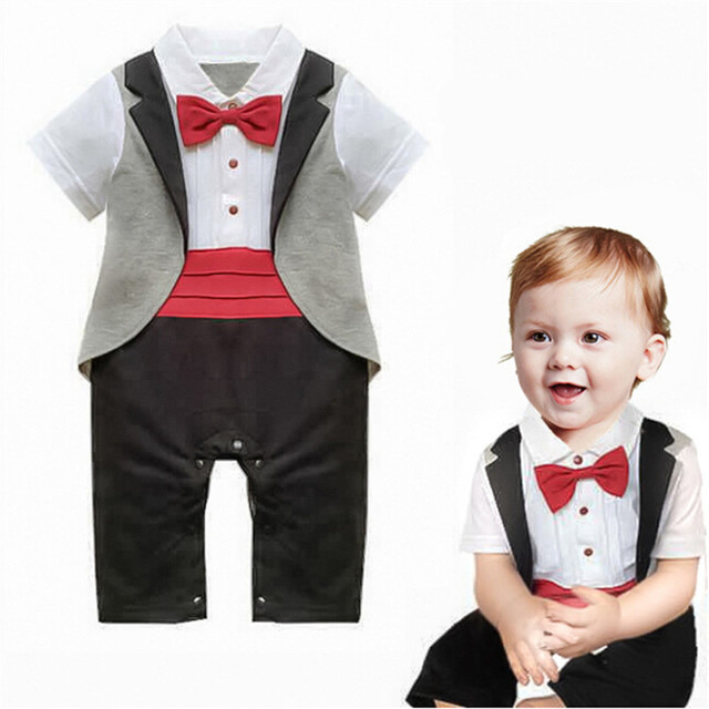 9d10370829a7 Baby Boys Gentleman Style Rompers Toddlers Red Bow Tie Jumpsuits Newborn  European Design Tuxedo Infant Short Sleeve Clothes