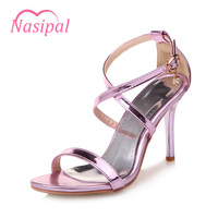 Nasipal Fashion Female Sandals Summer Patent Leather Women S High Heel Shoes High Heels Party Women