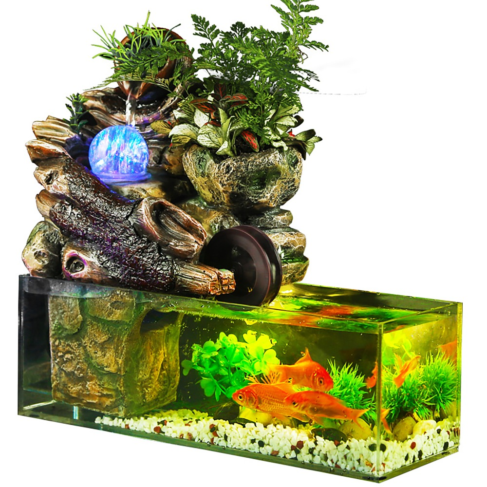 Aquarium fish tank artificial landscape rockery water fountain with ball ornaments living room desktop lucky home bar decoration