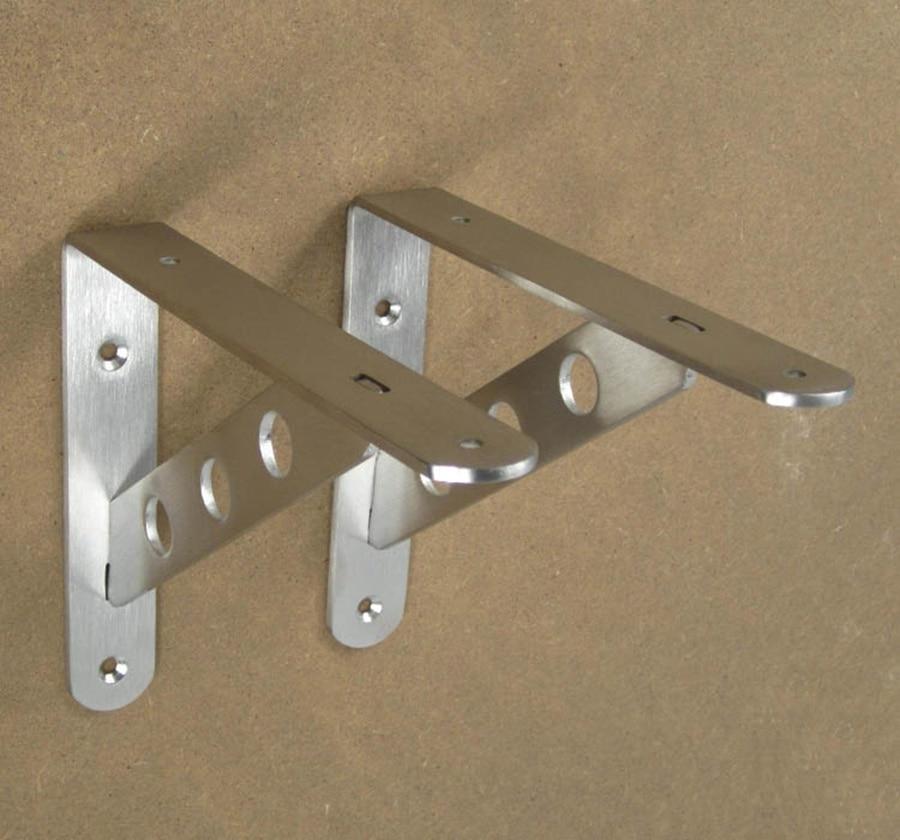 2pcs wall shelf brackets book shelf holder stainless steel storage rack holder hardware kitchen bathroom organizer