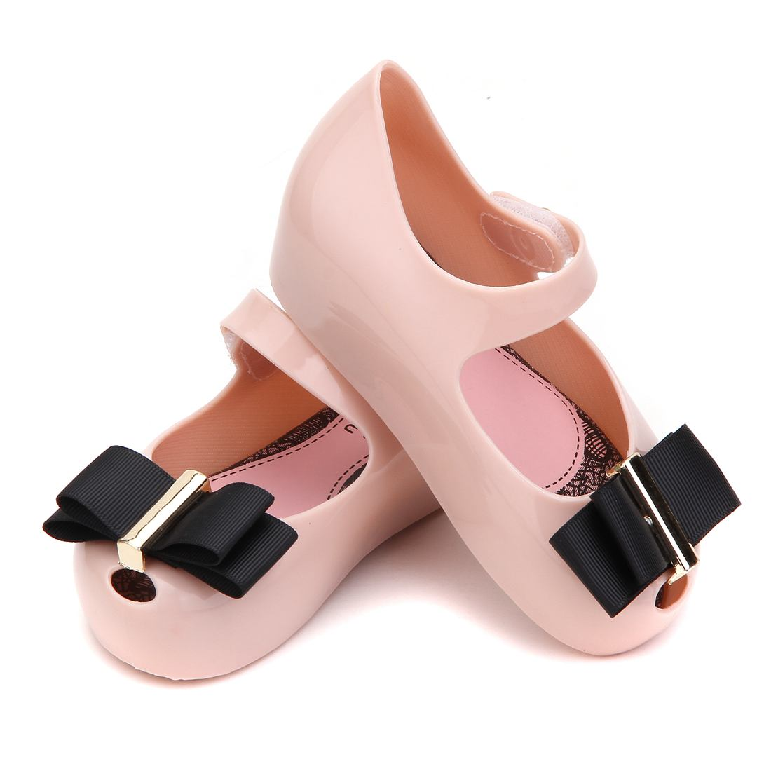 74d09cb3b13d6 Mini Melissa 2017 Winter New Black Cloth Bow Girl Sandals Jelly Shoes Soft  Comfort Kids Sandal Winter Shoe Toddler-in Sandals from Mother   Kids on ...