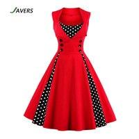 JAVERS 5XL Plus Size 1950s Vintage Retro Rockabilly Dress Women Hepbum Style Sleeveless Robe Big