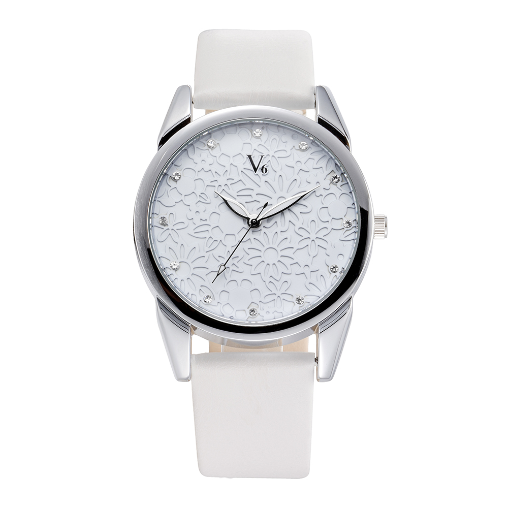 V6 hot sale Women Watches Brand Flowers Fashion Quartz Watch Genuine Leather men watches Relojes hombre 2017 simple style clock top fashion simple classic style famous brand quartz watch women casual leather watches men hot clock reloj mujeres