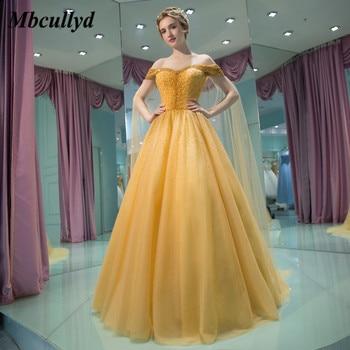 4f962a23667 Mbcullyd amarillo elegante Vestidos de quinceañera 2019 hinchada de una  línea hombro cuentas dulce 16 baile