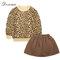 2016 Autumn New Baby Girls Clothes Sets Leopard Pattern Cotton Long Sleeve Shirts Top+Skirt 2Pcs Fashion Kids Clothes Suits