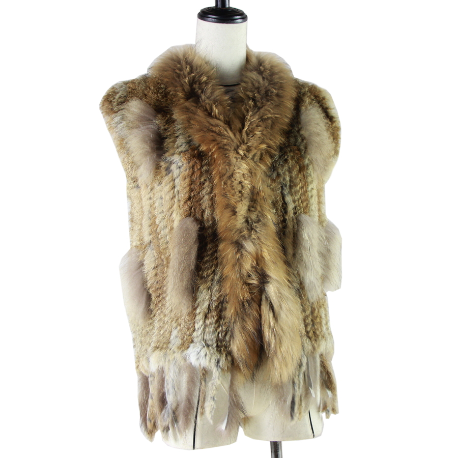 Harppihop Free shipping womens natural real rabbit fur vest with raccoon fur collar waistcoat jackets rex