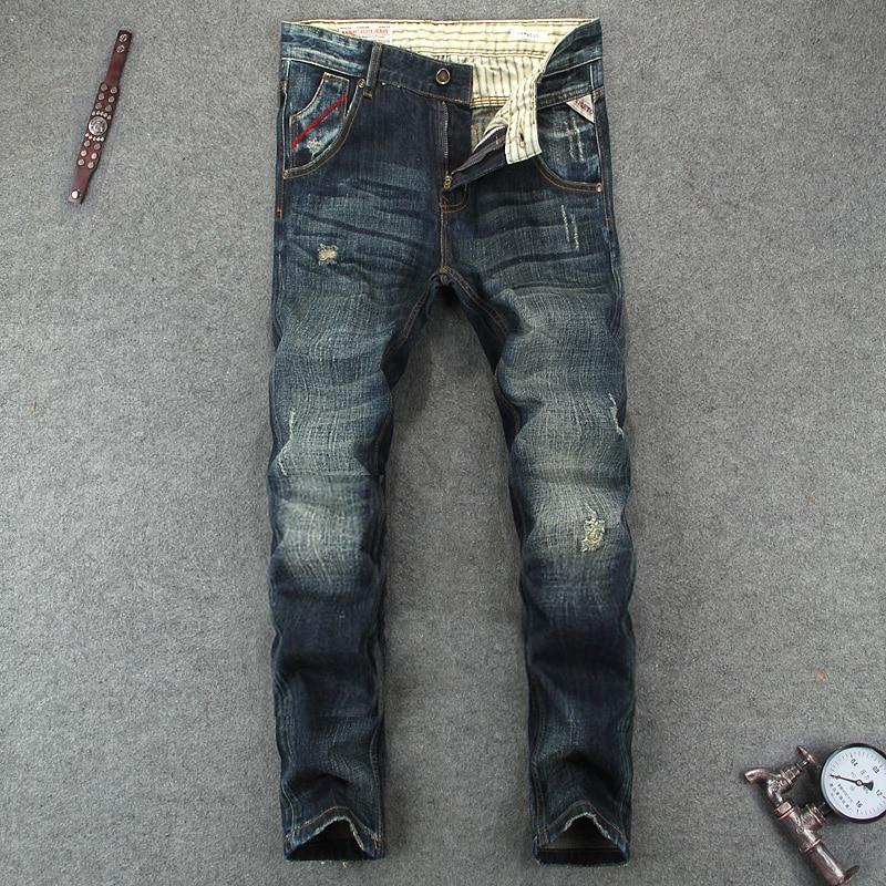 European American Street Fashion Men Jeans High Quality Skinny Fit Stripe Jeans Pants Destroyed Ripped Jeans Men Biker Jeans nostalgia retro design fashion men jeans european stylish dimensional knee frayed hole destroyed ripped jeans men biker jeans