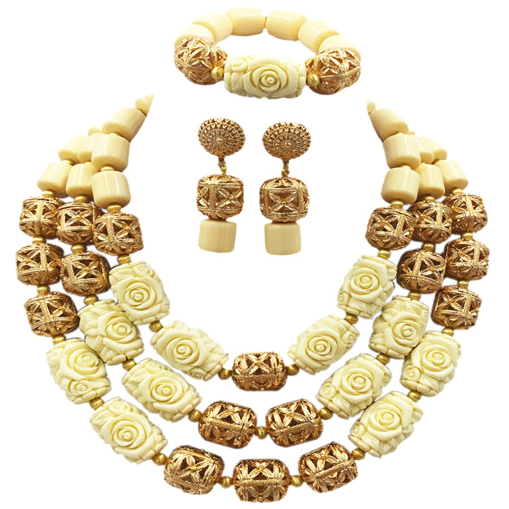 White Artificial Coral Beaded African Jewelry Sets Nigerian Wedding Costume Jewelry Set for Women Statement Necklace ACB-35 цена