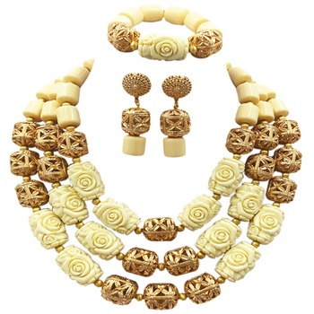 White Artificial Coral Beaded African Jewelry Sets Nigerian Wedding Costume Jewelry Set for Women Statement Necklace ACB-35