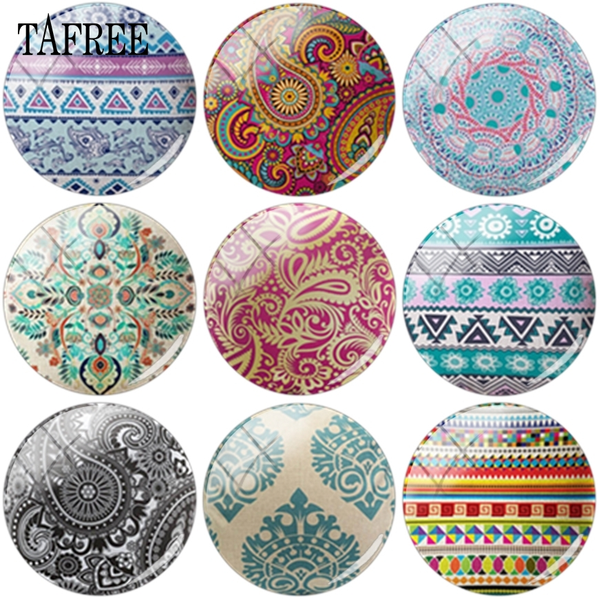 TAFREE Multi Style Retro Pattern Glass Cabochon 12mm 16mm 20mm Dome Base Cover Pendant For Keychains Necklace DIY Accessories
