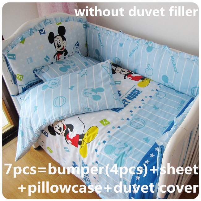 ФОТО Discount! 6/7pcs Mickey Mouse Baby bedding set 100% cotton Crib bedding set Baby Quilt Cover Bumper Fitted Sheet,120*60/120*70cm