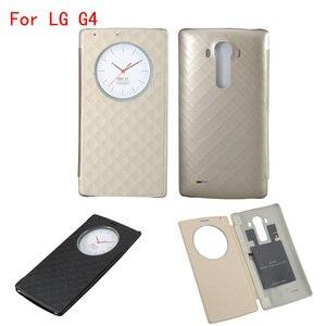 Image 1 - Pour LG G4 étui de cercle intelligent rapide couverture arrière en cuir à rabat officiel de luxe avec charge sans fil NFC et Qi