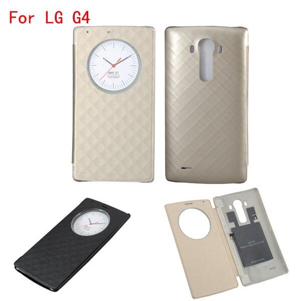 Pour LG G4 étui de cercle intelligent rapide couverture arrière en cuir à rabat officiel de luxe avec charge sans fil NFC et Qi