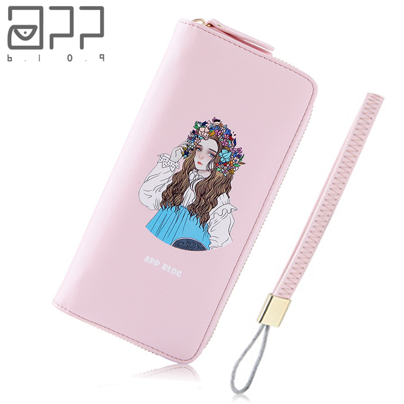 APP BLOG Brand Cute Flower Hat Women's Purse Long 2017 Fashion Sweet Clutch Leather Wallet Phone Key Card Holder Bag With Strap