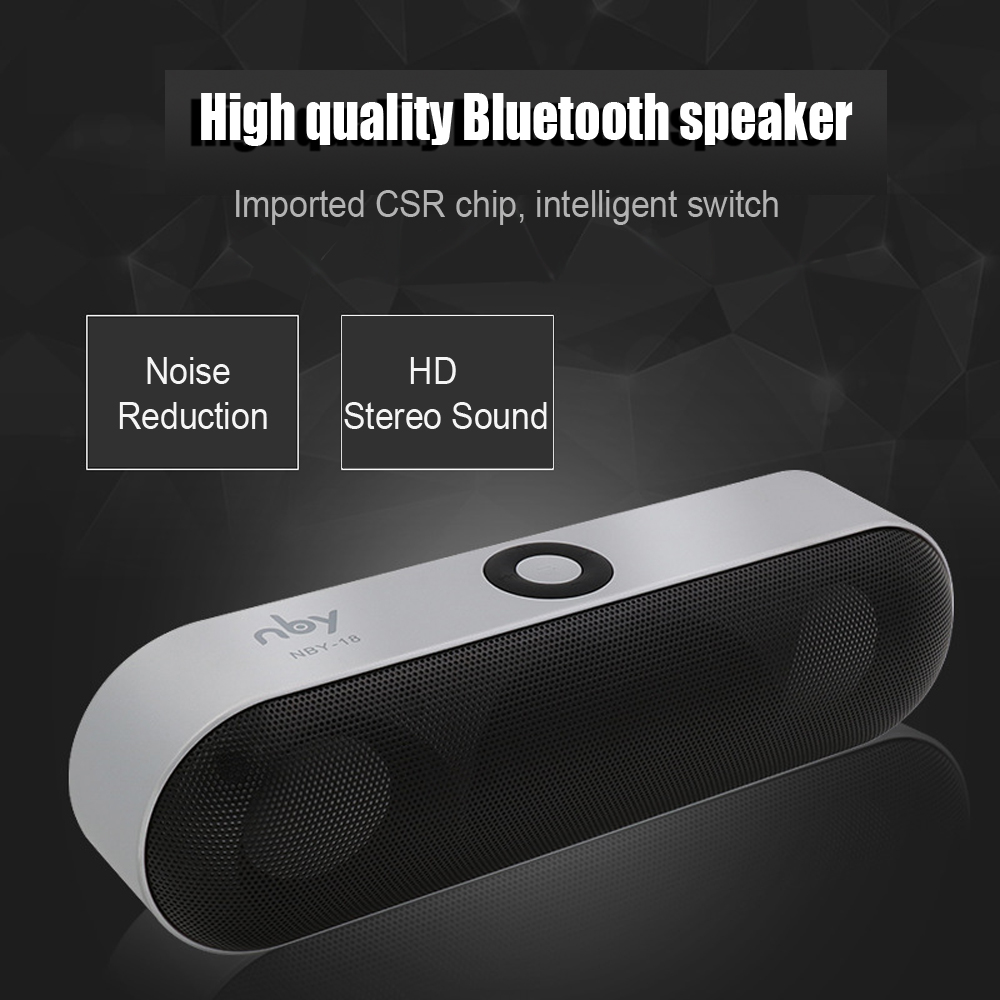 HAOBA NBY-18 Mini Bluetooth Speaker Portable Wireless Speaker Sound System 3D Stereo Music Surround Support Bluetooth,TF AUX USB