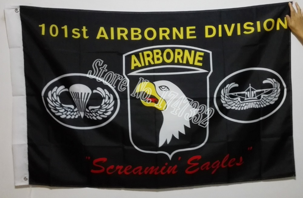 Black Army 101st Airborne Division Screamin Eagles Flag hot sell goods 3X5FT 150X90CM Banner brass metal holes