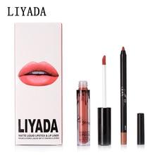 LIYADA labiales matte 12 set 24 pcs lotes al por walikota tahan lama kilie lip gloss lipstik cair + pensil tahan air make up