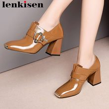 2019 genuine leather metal square toe high heels buckle fastener pleated design slip on movie stars plus size leisure pumps L80(China)