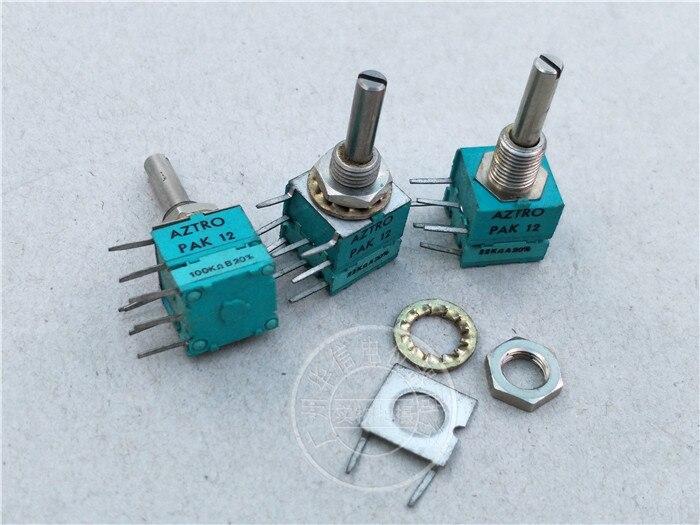 Original nouveau 100% import PAK12 A22K B10K B100K 20% double potentiomètre poignée longue 22 MM X 4 MM (interrupteur)