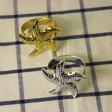 6PCS alloy starfish napkin ring wedding dinner western table supplies hotel home accessories