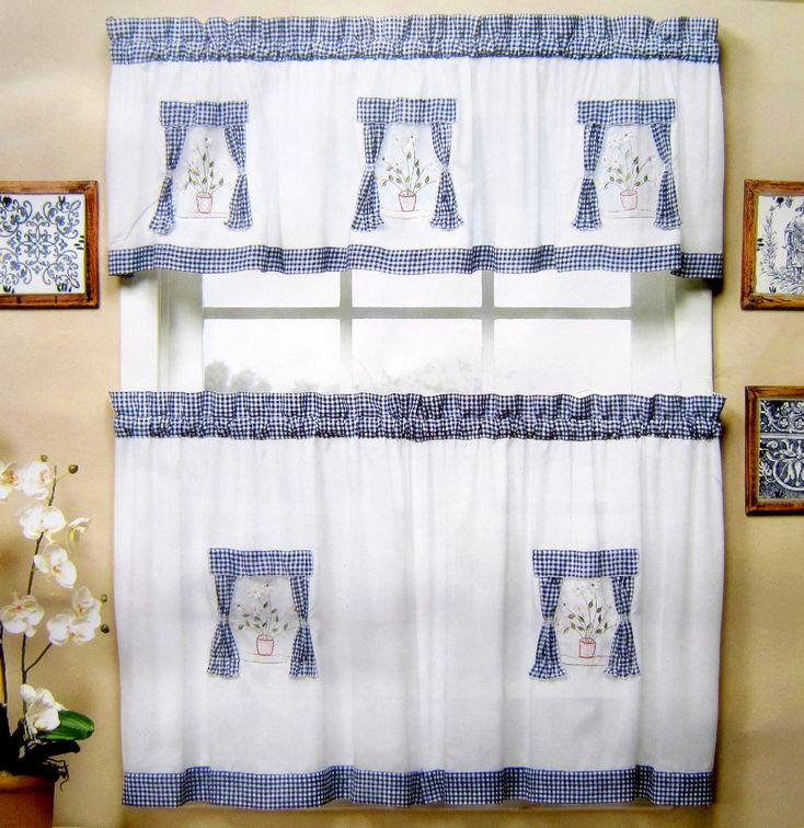 Kitchen Window Cafe Curtains: Window In Window Embroidered Applique Curtain Short Kitchen Curtain Cafe Curtain Blue Color One