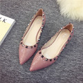 Koovan Women Leather Shoes 2017 Rivet Bright Pointed Shallow Mouth Thick Low Heeled Woman Shoes Comfort Size 41 Ladies Pumps