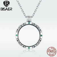 BISAER Memory Pendant Necklace 925 Sterling Silver Round Tree Leaves Women Floating Locket Necklaces & Pendants Jewelry GXF002