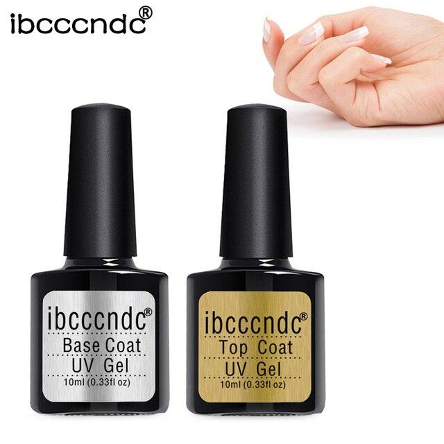 IBCCCNDC Base Top Coat Transparent Gel Nail Polish UV 10ml Soak Off Primer Gel Varnish Lacquer Matte Tempered Top Nail Manicure