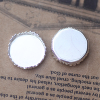 15mm 200pcs Silver Blank CROWN Pendant GemstoneTrays Bases Cameo Cabochon Setting For Glass Stickers